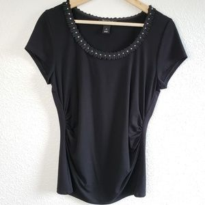 WHBM Ruched Sides Rhinestone Neck T Shirt D23